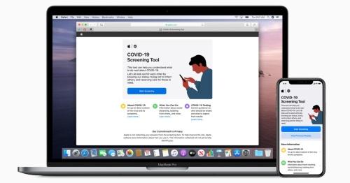アップルの新型コロナ対策のWebページとアプリの画面