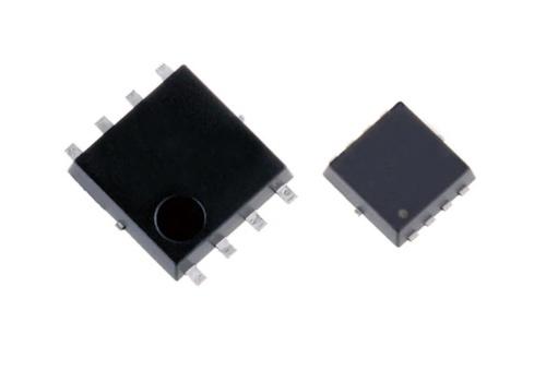 発売した+80V耐圧パワーMOSFETのパッケージ。左がSOP Advance、右がTSON Advance。東芝デバイス&ストレージの写真