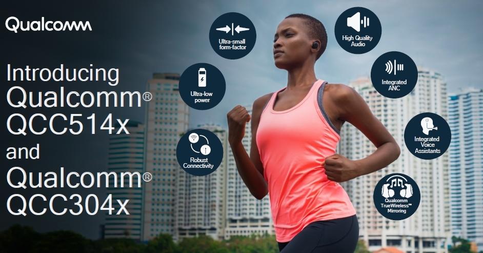 新製品を搭載した完全ワイヤレスイヤホンの利用イメージと、新製品の特徴 Qualcommのスライド