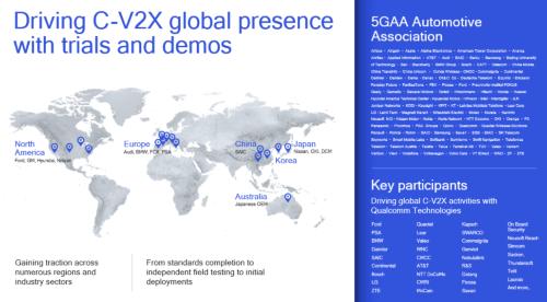 世界のC-V2Xトライアル、デモ実施状況