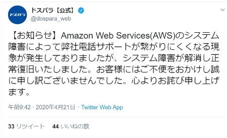 AWSの障害により電話サポートがつながりにくくなった事象を報告したドスパラのTwitter投稿