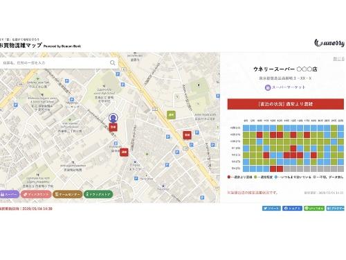 お買物混雑マップ Powered by Beacon Bankの画面例