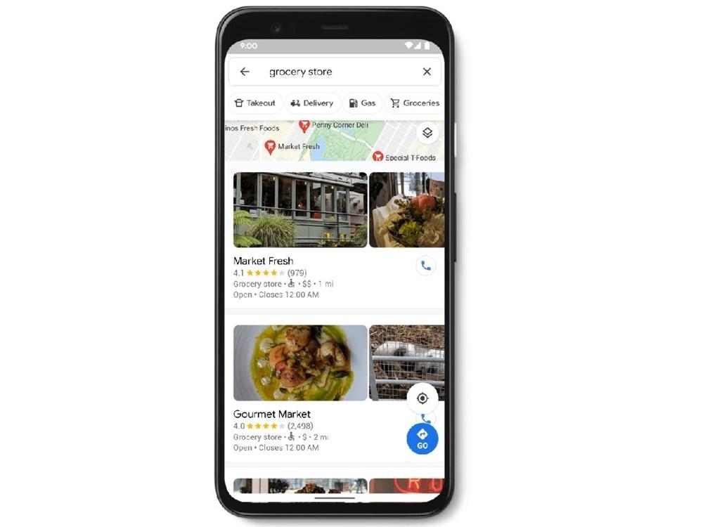 「Accessible Places」機能をオンにして、Google Mapsで近くの食料雑貨店を検索した結果 (出典:グーグル)