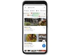 「Accessible Places」機能をオンにして、Google Mapsで近くの食料雑貨店を検索した結果