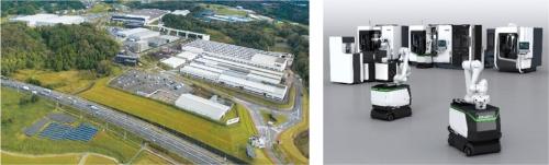 図1:共同実験を展開するDMG森精機の伊賀事業所(左)と、実験に用いるAGVの稼働イメージ(右)。(出所:DMG森精機)