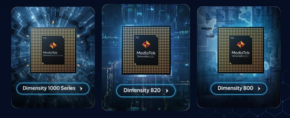 新製品の「Dimensity 820」(中央)は、既存の「Dimensity 1000」(左)および「Dimensity 800」(右)の中間的な仕様のチップとして開発された 3製品いずれも7nmプロセスで製造する。MediaTekのイメージ