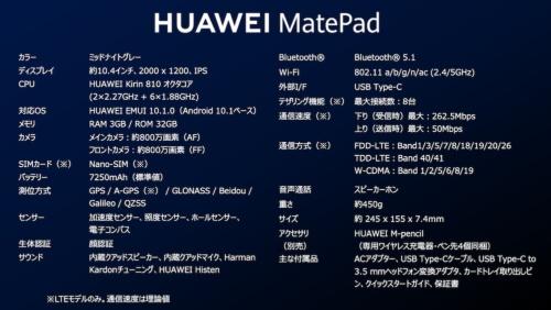 HUAWEI MatePadの主な仕様