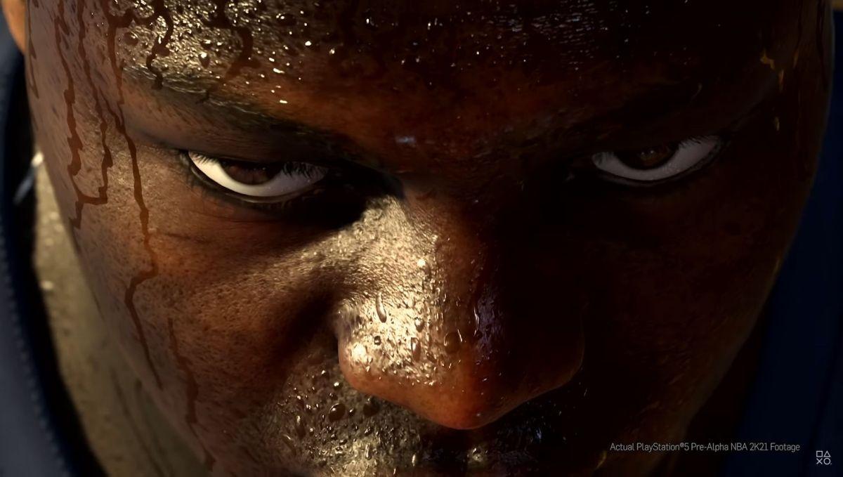 バスケットボールゲーム内の選手の顔。汗の描画が非常にリアルだ (画像:SIEの公式動画をキャプチャーしたもの)