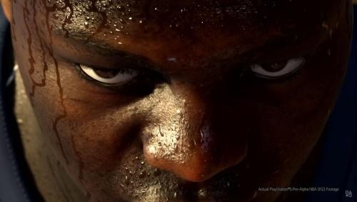 バスケットボールゲーム内の選手の顔。汗の描画が非常にリアルだ