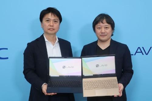 NECパーソナルコンピュータの河島良輔執行役員(左)、NECパーソナルコンピュータの森部浩至テレワークエバンジェリスト(右)