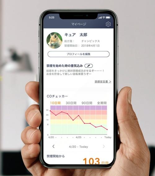ニコチン依存症を対象とした治療用アプリのイメージ
