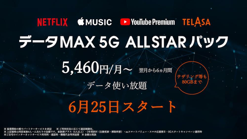 「データMAX 5G ALL STARパック」を6月25日から提供開始 (出所:KDDI)
