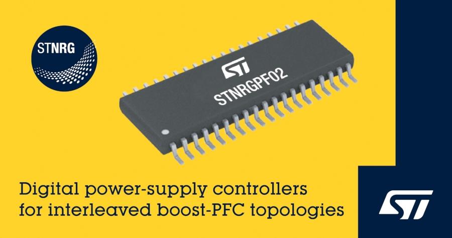 600~6kW出力のPFC回路に向けたデジタル制御IC STMicroelectronicsのイメージ