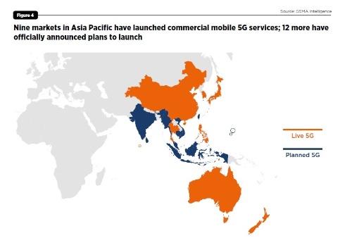 アジア太平洋地域の5G商用サービス開始状況