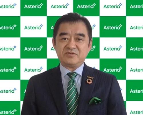 オンライン会見に臨んだアステリアの平野洋一郎社長
