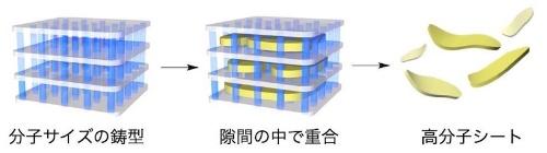 図:MOFを鋳型にした高分子重合(出所:東京大学)