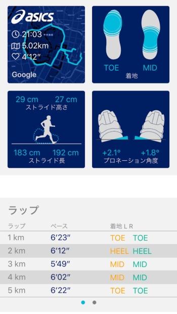 スマホアプリによる走り方の分析結果の表示画面