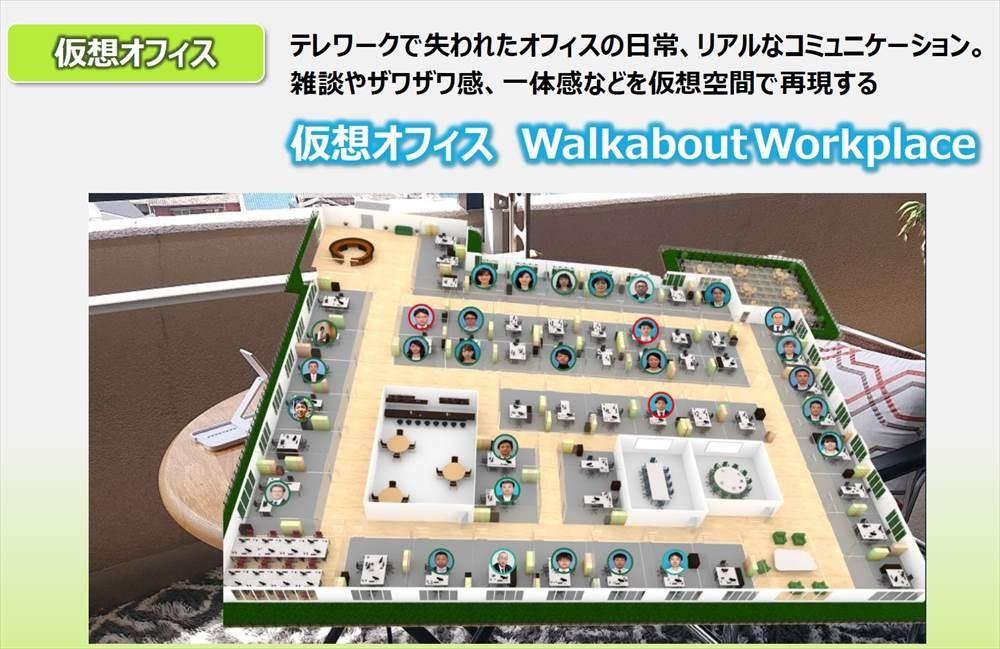 仮想オフィスサービス「Walkabout Workplace(ウオークアバウトワークプレイス)」の画面イメージ (出所:日立ソリューションズ)