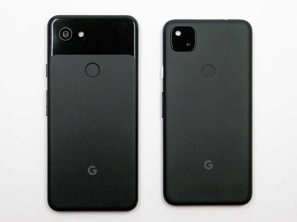 Pixel 3a(左)とPixel 4aの比較。本体サイズは小型化