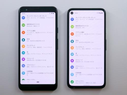 Pixel 3a(左)とPixel 4aの比較。画面サイズは大型化