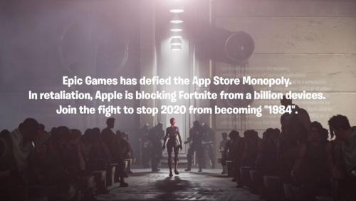 """Appleが以前、米IBMによるコンピューター業界の支配を暗に批判したとされるテレビCMに似せた動画をEpic Gamesが公開した。動画内では「2020年が""""1984""""になることを阻止する闘いに加われ(Join the fight to stop 2020 from becoming """"1984"""")」とのメッセージを掲載した。"""