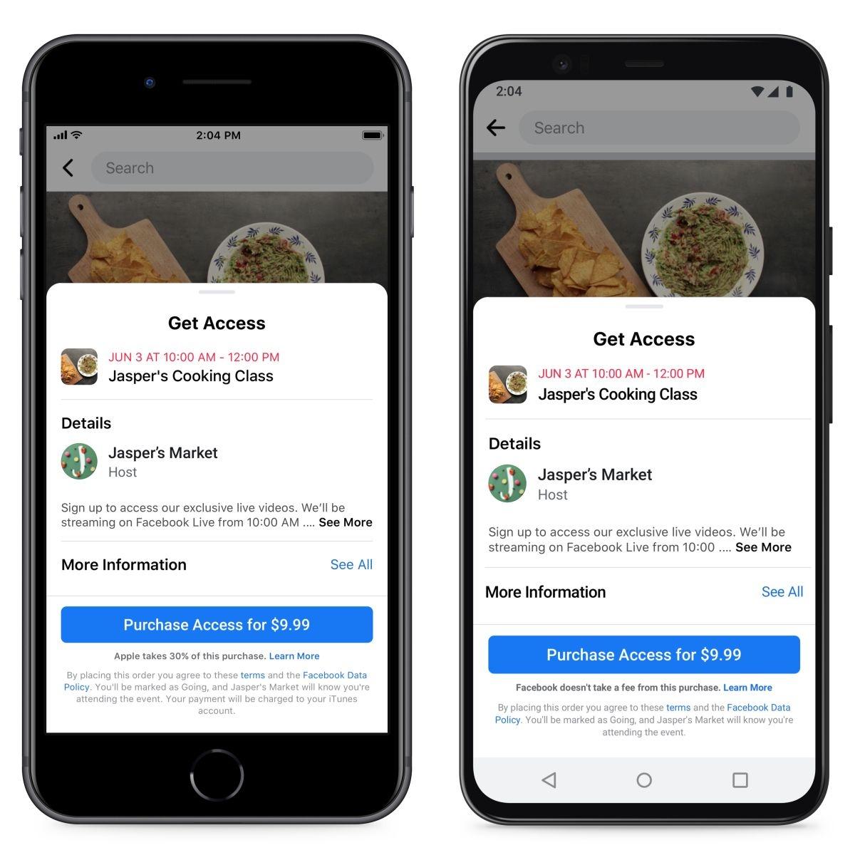 有料イベントの支払い画面。左がiOS端末で、右がAndroid端末。iOS端末ではAppleが30%の手数料を徴収することが明記されている (出典:Facebook)