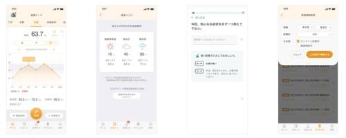 健康管理アプリにおける基本4機能のスマホ画面のイメージ
