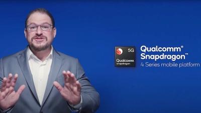 Cristiano R. Amon氏が基調講演中に、Snapdragon 4シリーズに5G対応品を追加することを表明