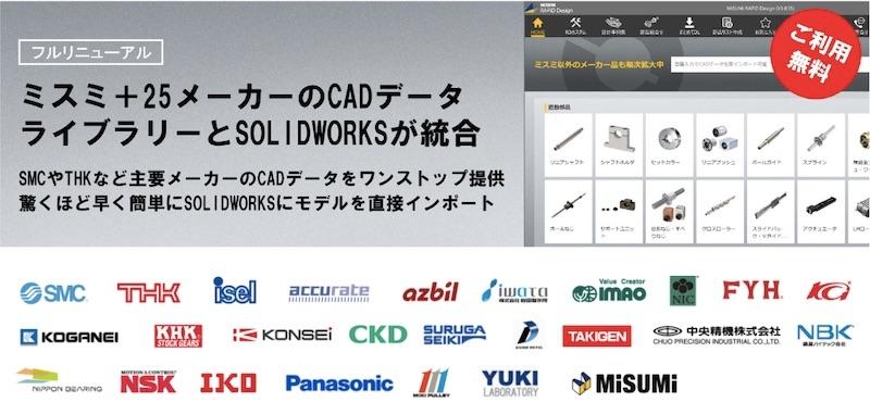 図:「RAPiD Design」のライブラリー画面(上)のイメージと、CADデータを収録した部品メーカー(下) (出所:ミスミグループ本社)