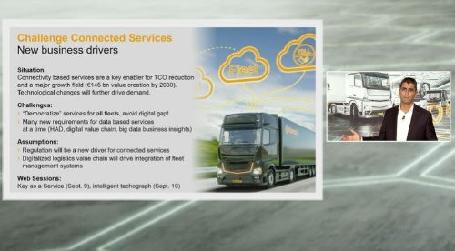 図1 基調講演に登壇したドイツContinental(コンチネンタル)Head of the Commercial Vehicles & Services Business UnitのGilles Mabire氏