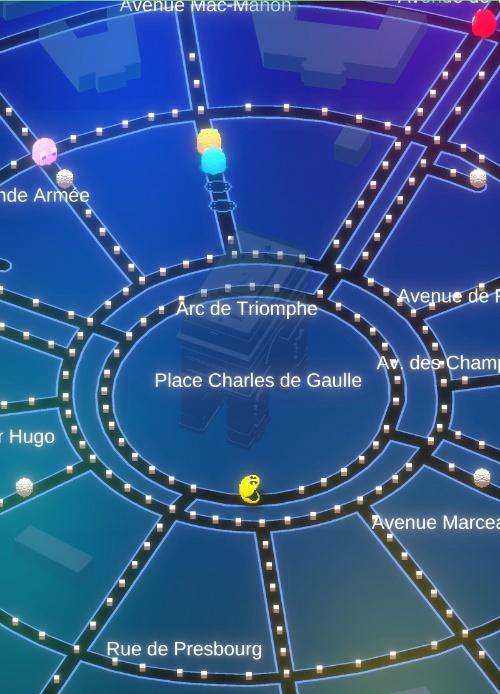 図1 開発中の「PACMAN-GEO(パックマン ジオ)」のゲーム画面
