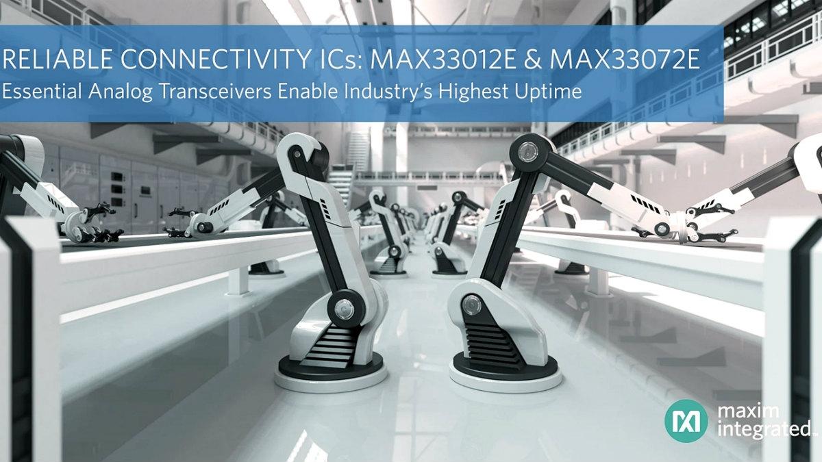 発売した2つのトランシーバーICの応用例で、産業用ロボット Maxim Integratedのイメージ