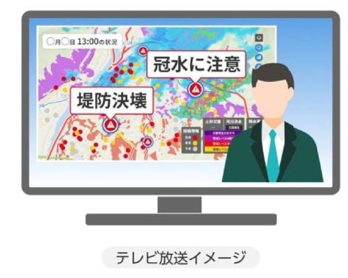 災害報道での「災害マップ」活用イメージ
