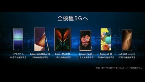 5G対応スマホ6機種を発表(出所:KDDI)