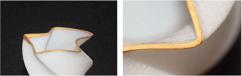図1 新手法で作製した後、金属部分に金めっきを施した立体造形物 (出所:早稲田大学)