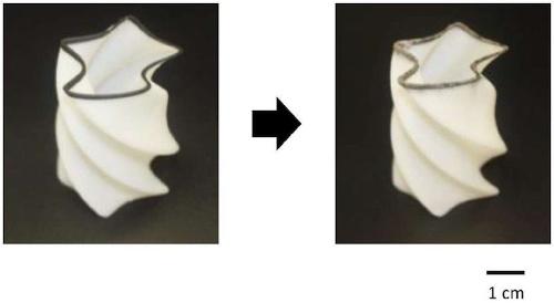 図3:3Dプリンターで出力し(左)、無電解めっきで金属を析出させる(右)