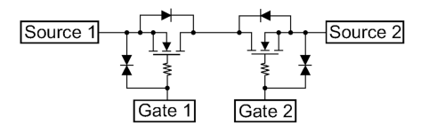 Liイオン2次電池パックの保護回路向けMOSFET「SSM6N951L」の内部構成