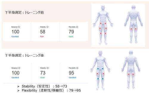 身体動作のデータを解析した様子