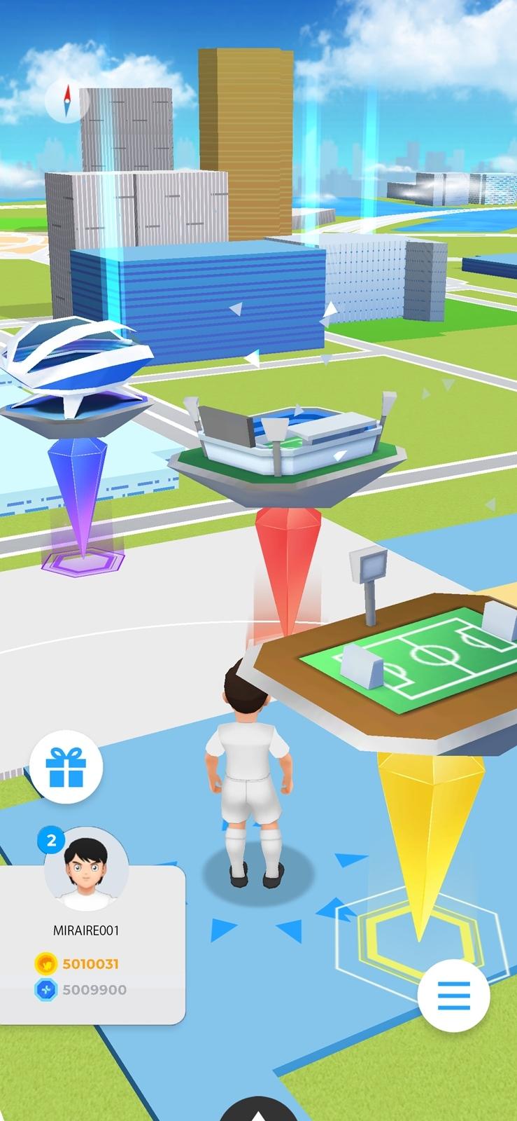TSUBASA+のプレー画面 街中に点在する「スタジアム」へ実際に訪れて遊ぶ(出所:MIRAIRE)