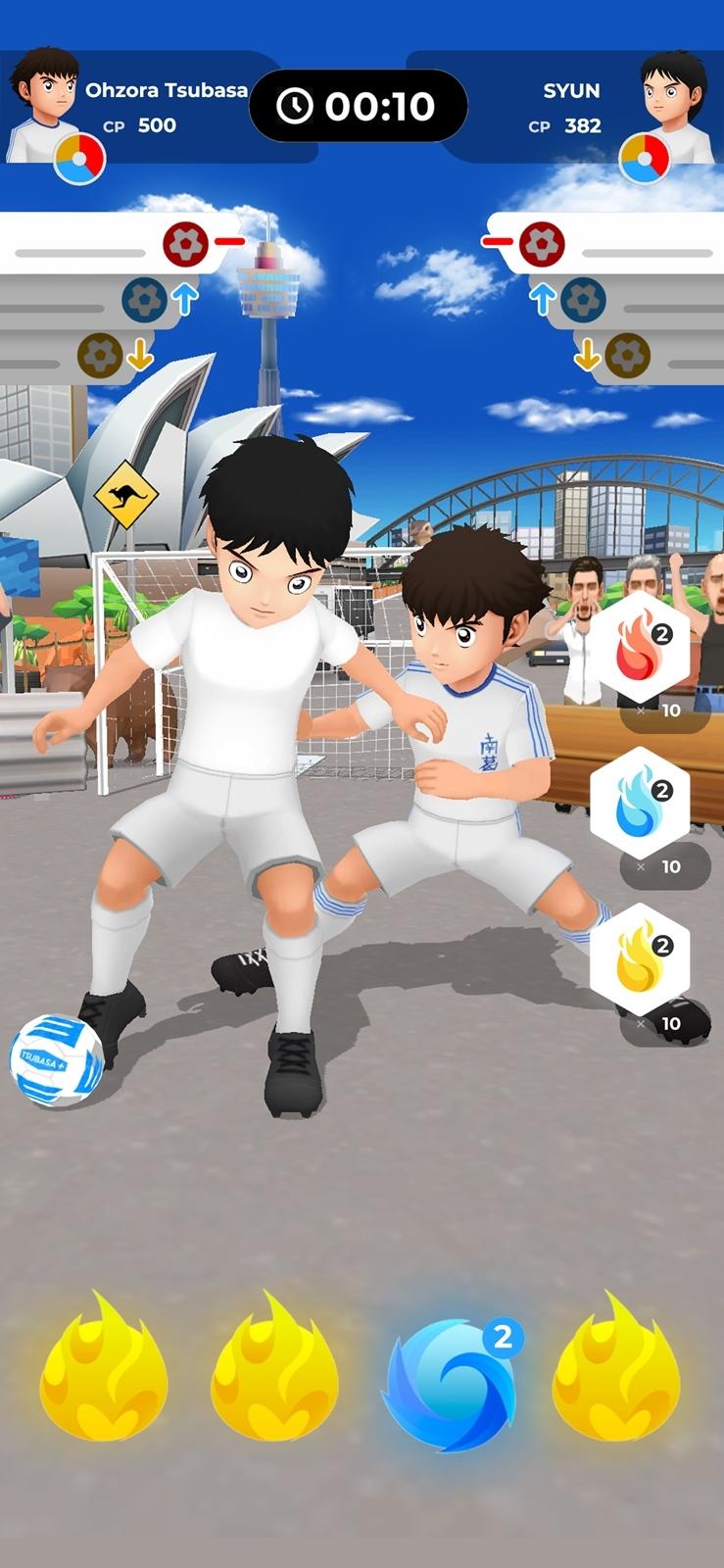 TSUBASA+の対戦画面 他のプレーヤーとサッカー勝負ができる(出所:MIRAIRE)