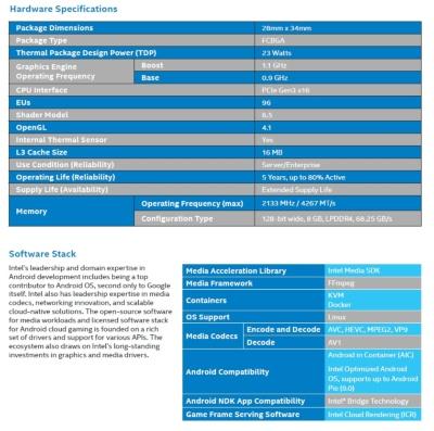 Intel Server GPUの主な仕様と用意されているソフトウエアスタック