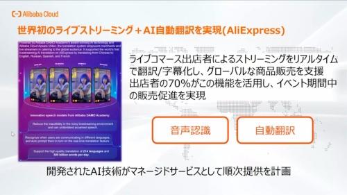 ライブコマースの出演者の音声を自動認識し、標準中国語をはじめ各国の言語で字幕表示する機能も各EC店舗に提供した