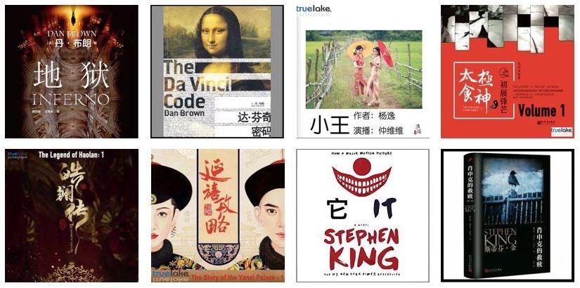 ミラー氏の会社トゥルーレイクが手がけるオーディオブックの代表作。著名作家のダン・ブラウンやスティーヴン・キング、台湾の高楊などの作品、中国の歴史名作などを手がけている (出所:トゥルーレイク)