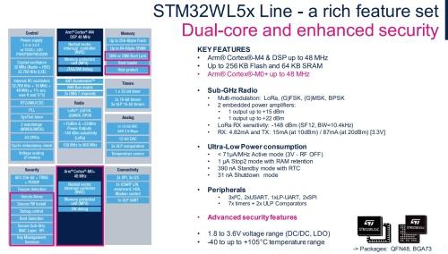新製品の「STM32WL55」の機能ブロック図