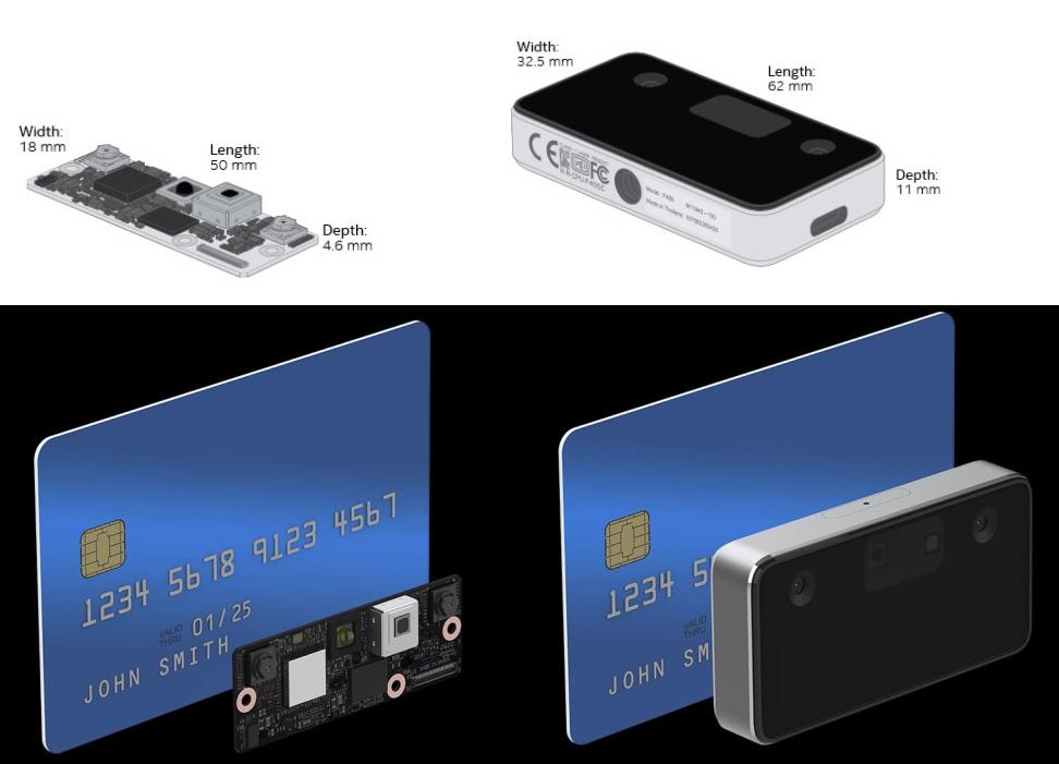 左がモジュールタイプの「RealSense ID F450」、右が周辺機器タイプの「RealSense ID F455」  どちらもクレジットカードよりも小型。(IntelのWebサイトの複数のイメージを統合・編集)