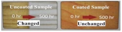 図4:超越コーティングを施した木材