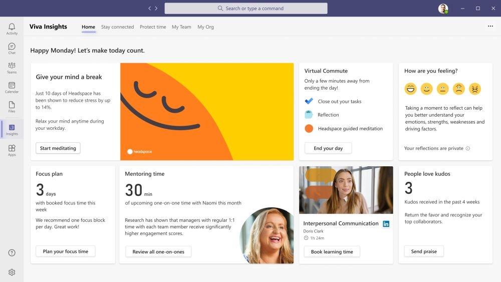 「Viva Insights」のサービス画面。チームや個人の働き方に対する洞察を得られる (出所:米マイクロソフト)