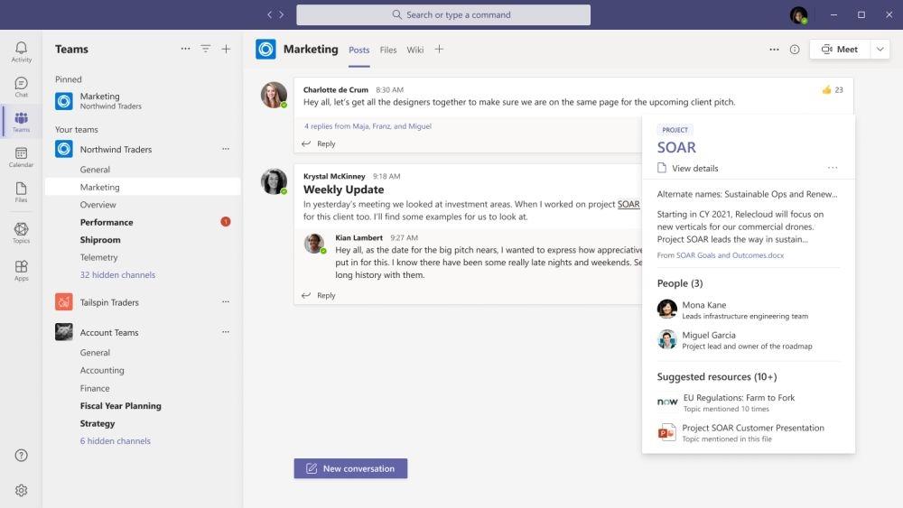「Viva Topics」のサービス画面。企業内の知識を共有する (出所:米マイクロソフト)