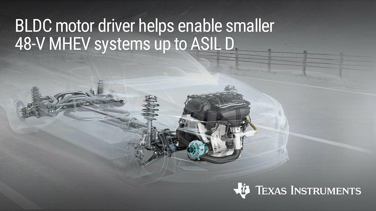3相BLDCモーター向けゲートドライバーICの応用例(マイルドハイブリッド車) (出所:Texas Instruments)
