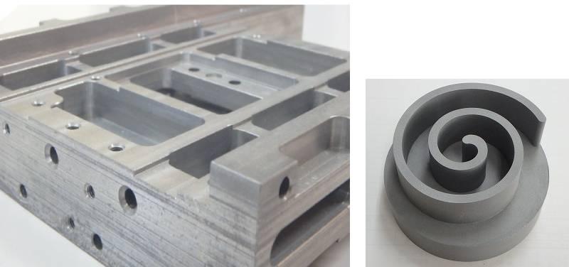 図1 「AC-Albolon」の適用例 半導体製造装置の治具(左)と、空気圧縮機用スクロール(右)。(出所:アドバンスコンポジット)